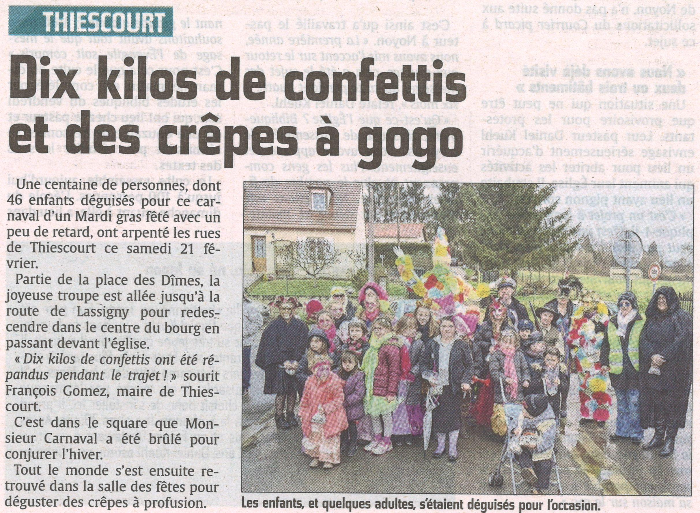 Carnaval de Thiescourt Courrier Picard du 25 février 2015.