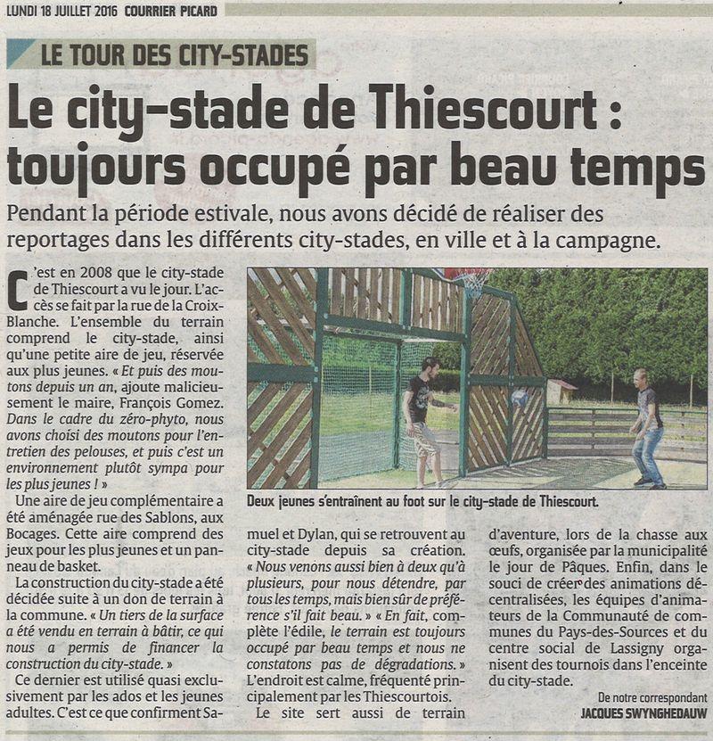 Un point sur le city stade de Thiescourt : utilisation et entretien.