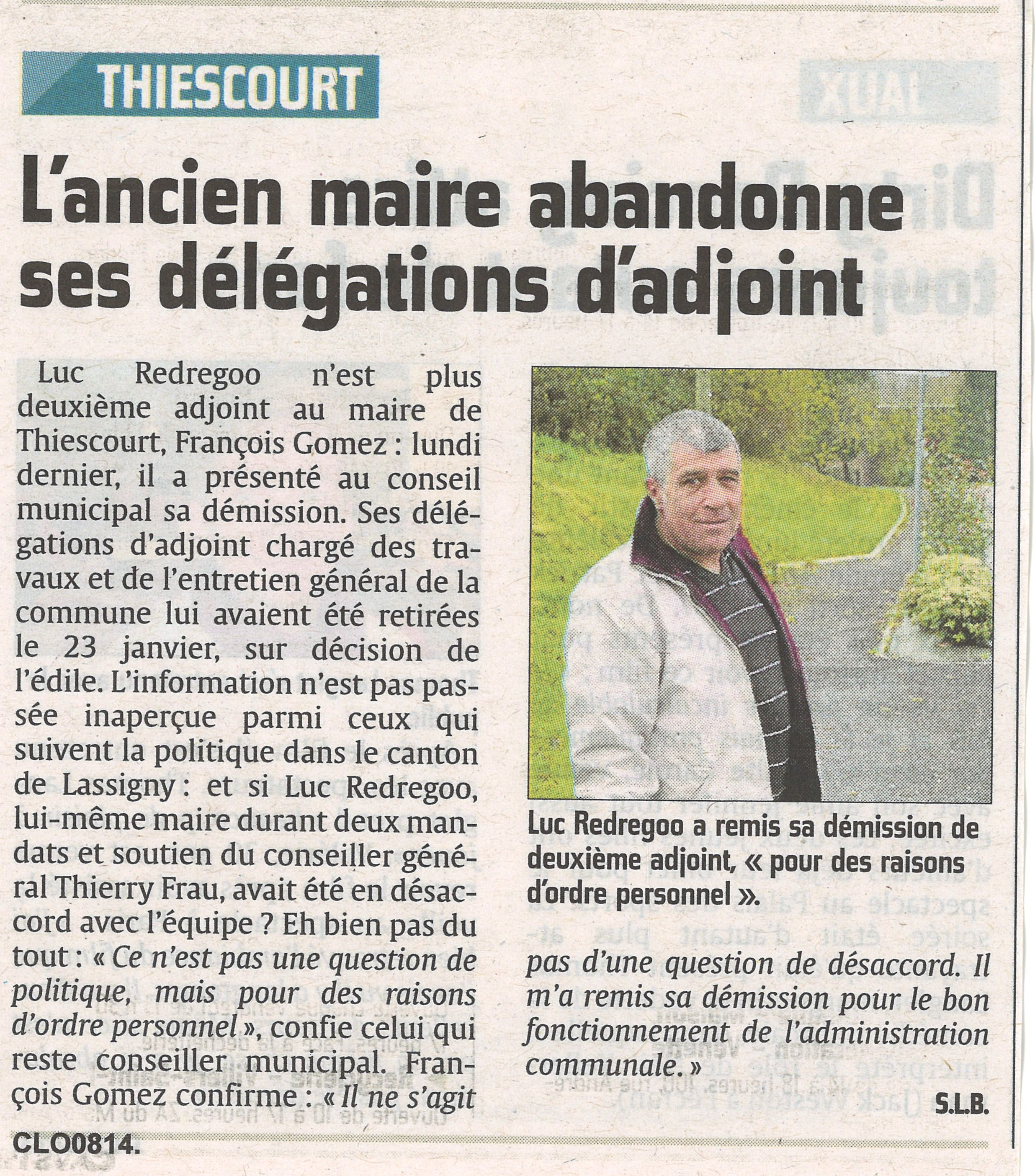 Démission adjoint Luc Redregoo