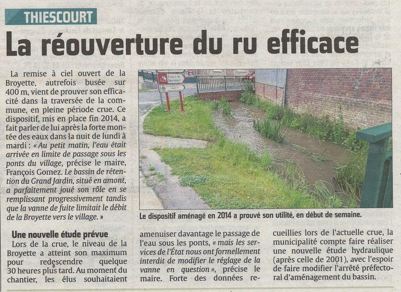 La réouverture de la Broyette, efficacité démontrée pour lutter contre l'inondation du centre bourg.