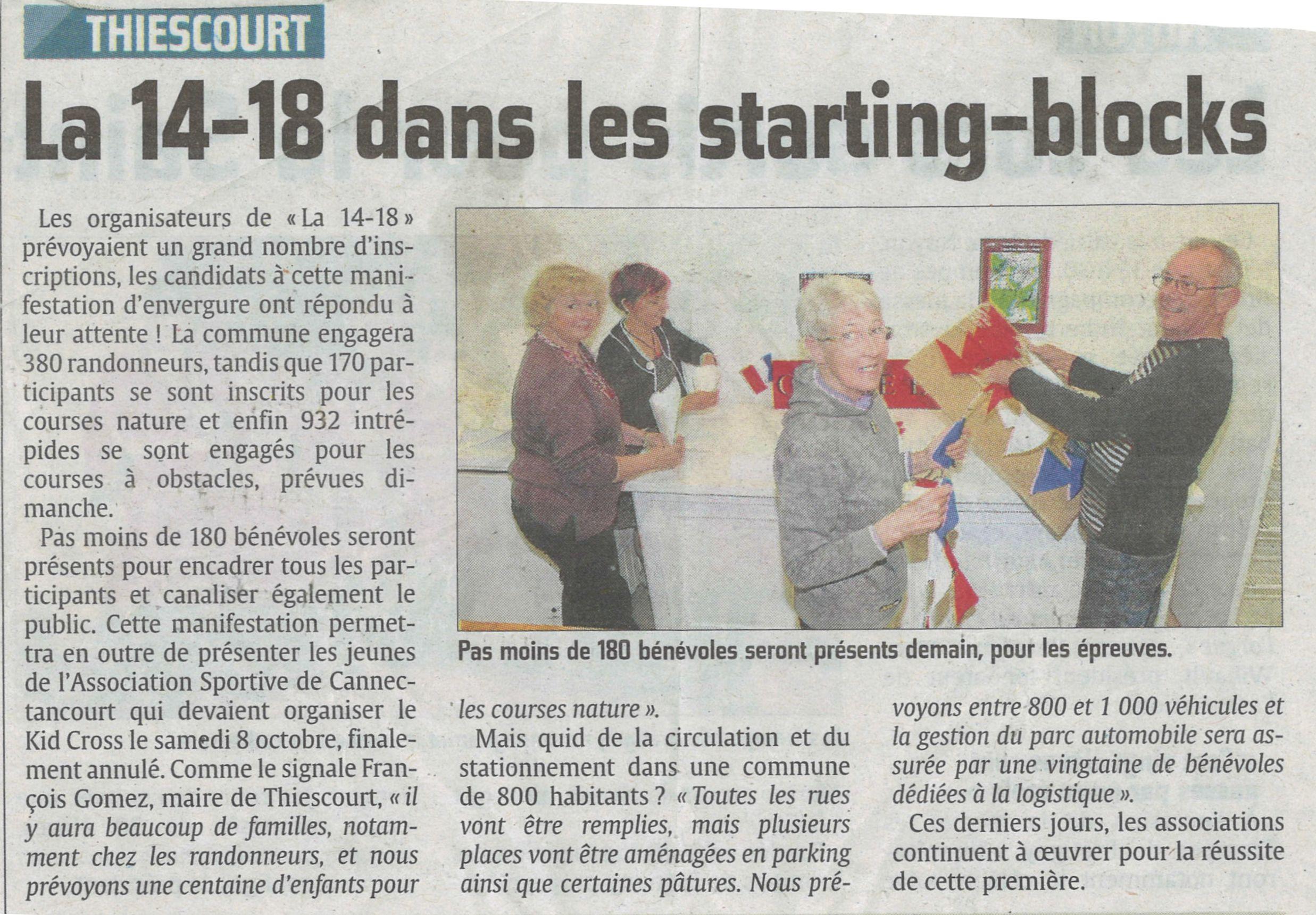 Les bénévoles s'activent pour les préparatifs de 'La 14-18 de Thiescourt' du 9 novembre prochain.