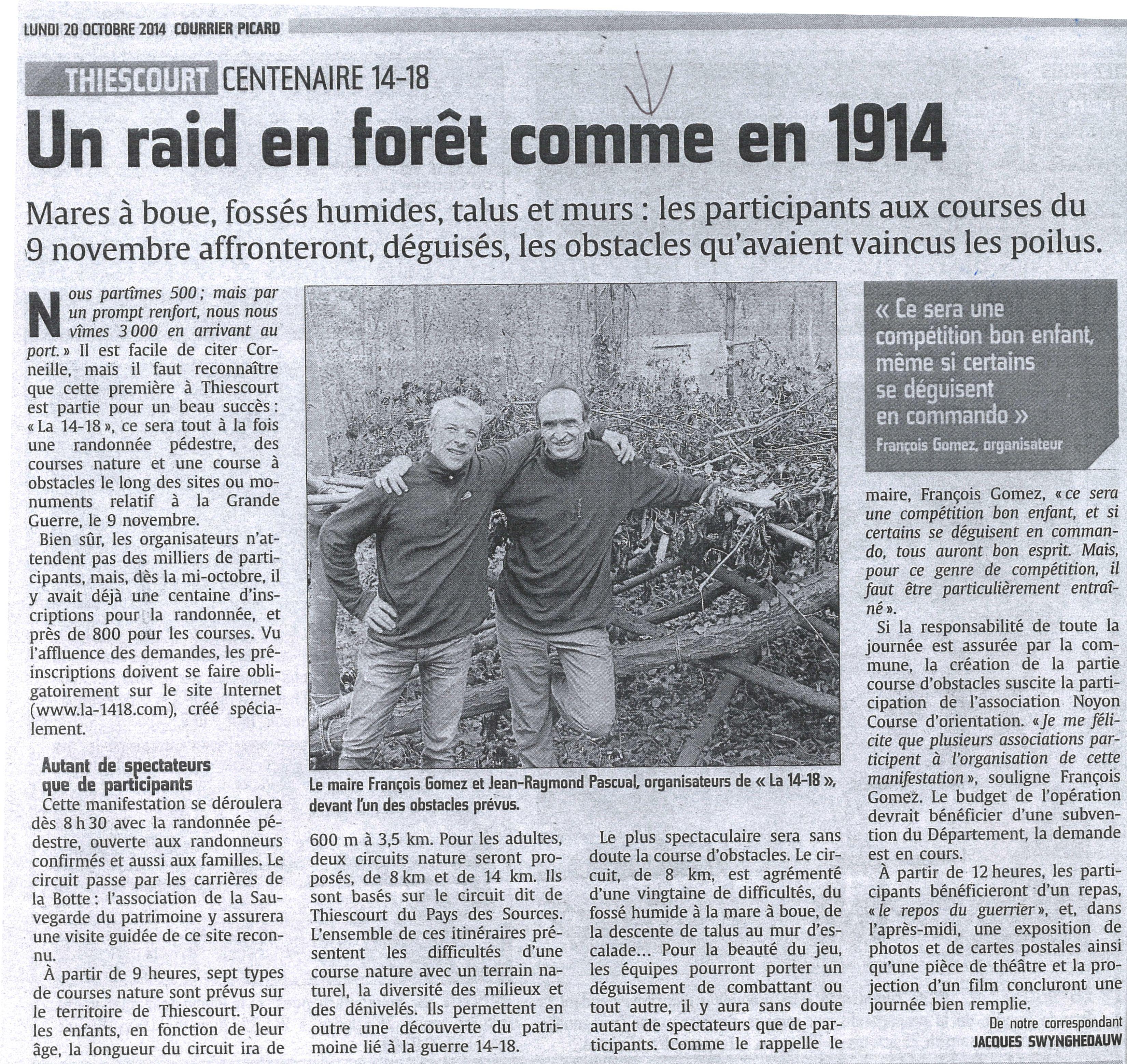 Un mois avant la manifestation 'La 14-18 de Thiescourt'