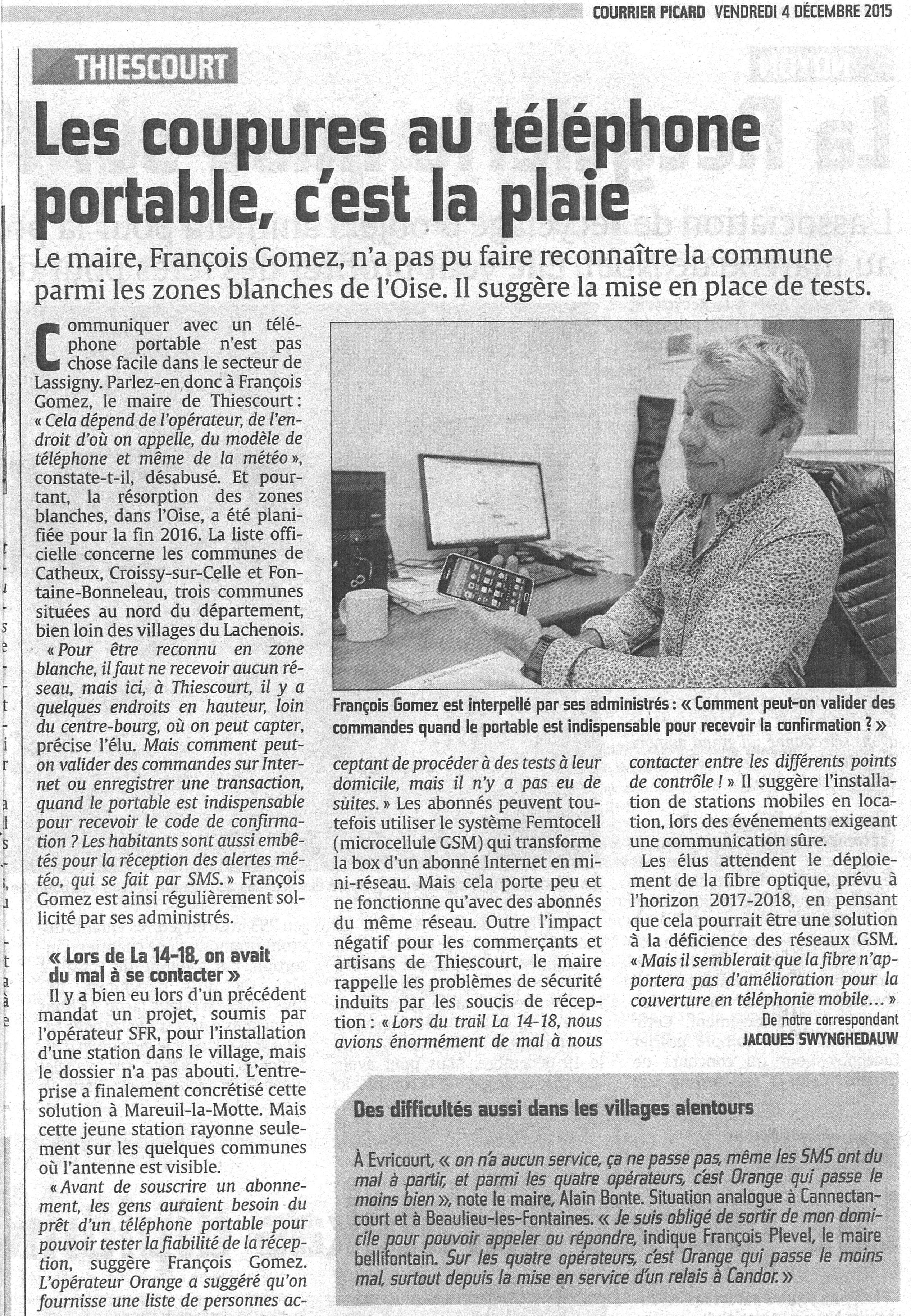 Problème de réseau téléphonique sur Thiescourt !
